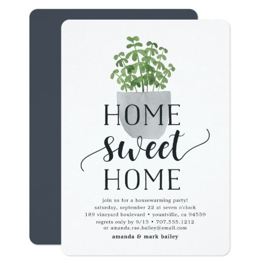Potted Plant   Housewarming Party Invitation