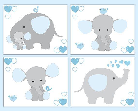 ELEFANTE vivero DECOR muchacho pared grabados bebé gris azul ducha ...
