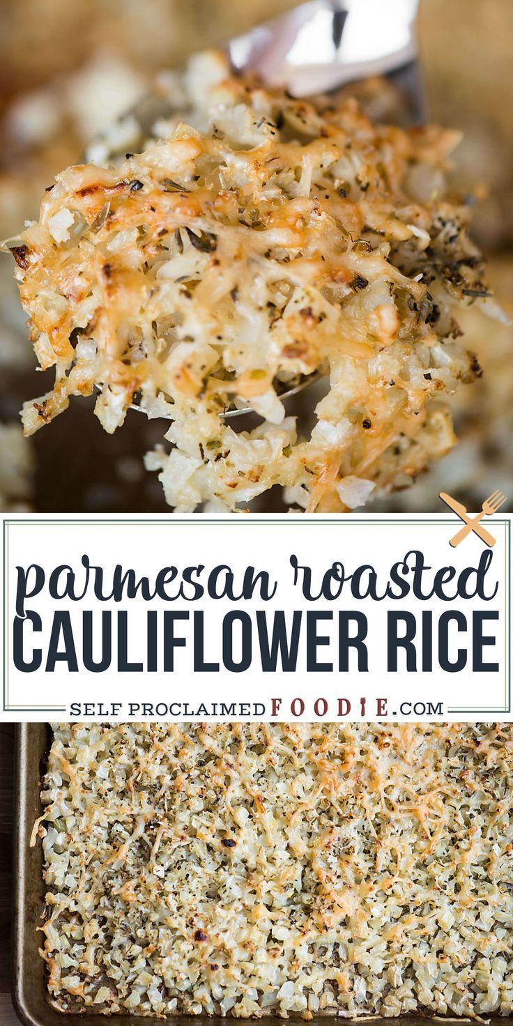Parmesan Roasted Cauliflower Rice | Self Proclaimed Foodie