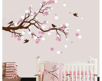 Cherry Blossom Tree Branch Wall Decal With Birds Vinyl Wall Etsy Custom Wall Art Tree Branch Wall Cherry Blossom Tree