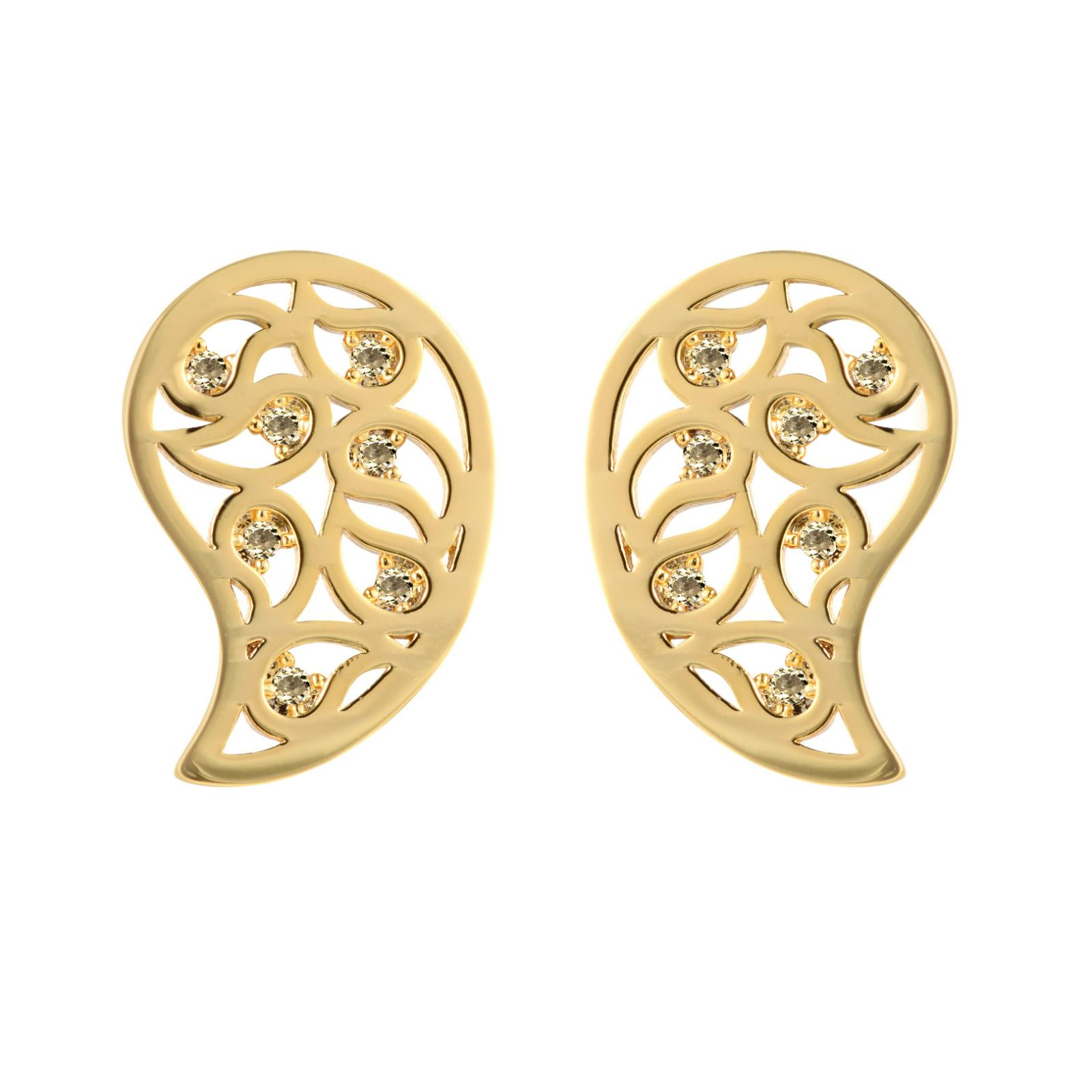 Sonal Bhaskaran Jaali Gold Paisley Earrings with Clear Cubic Zirconia WLPhEX