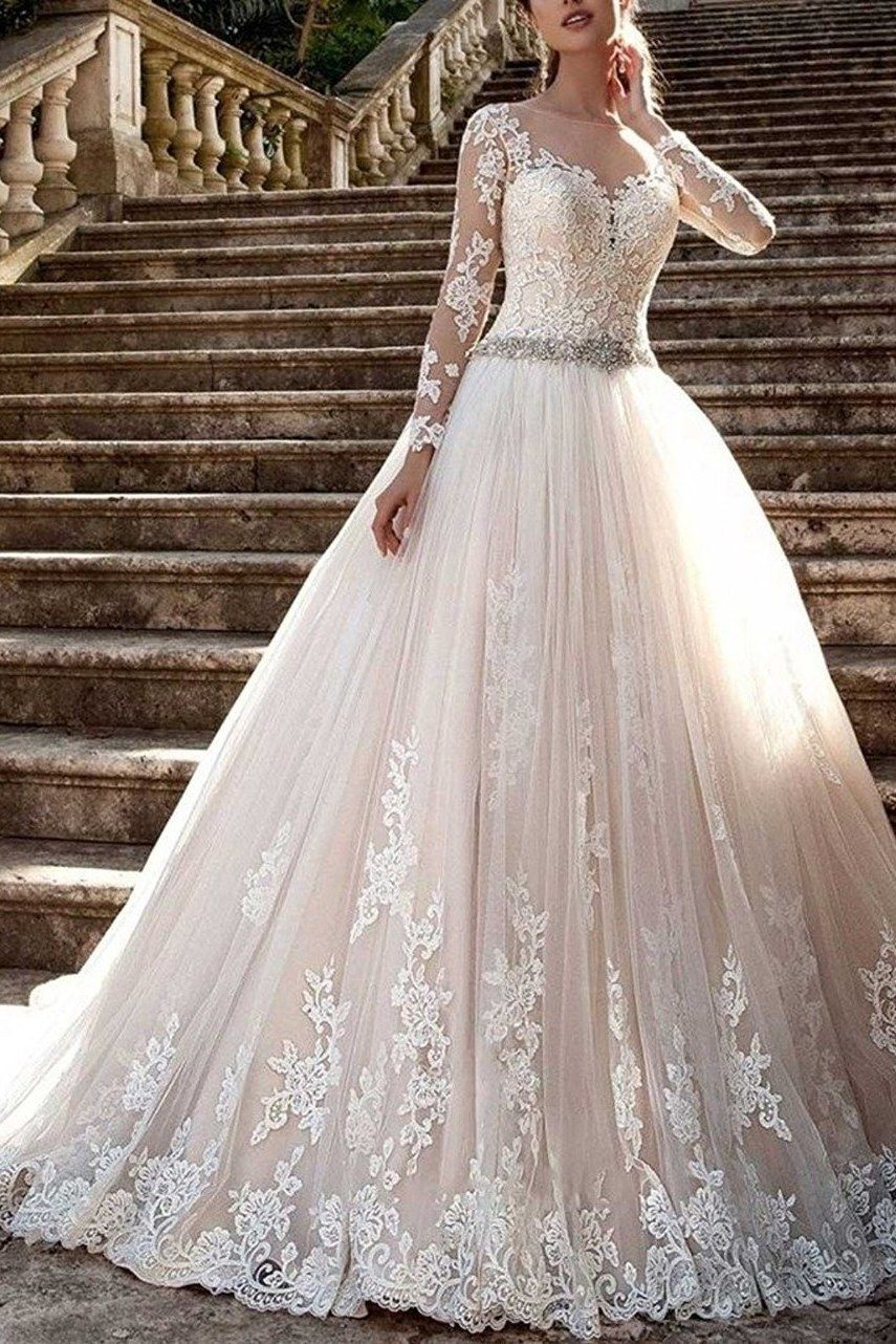 20 Gorgeous Wedding Dresses You Won T Believe You Can Get On Amazon Long Sleeve Wedding Dress Lace Sheer Wedding Dress Ball Gowns Wedding