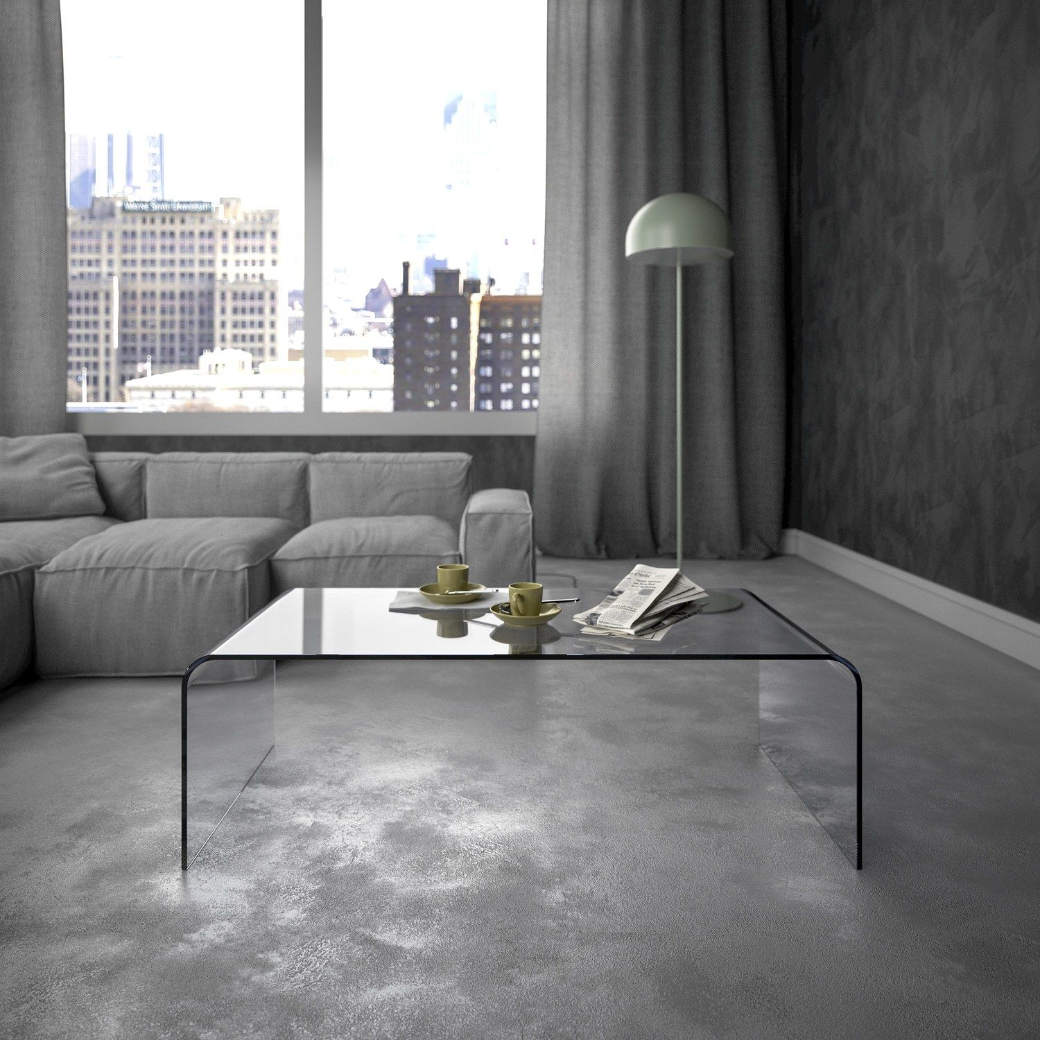 Glass coffee table in living room classic curved glass coffee table  klarity  glass furniture