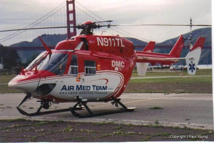 Air Med Team Modesto Ca At Crissy Field In San Francisco With The Golden Gate Bridge In The Background 1994 Flight Paramedic Helicopter Fire Trucks