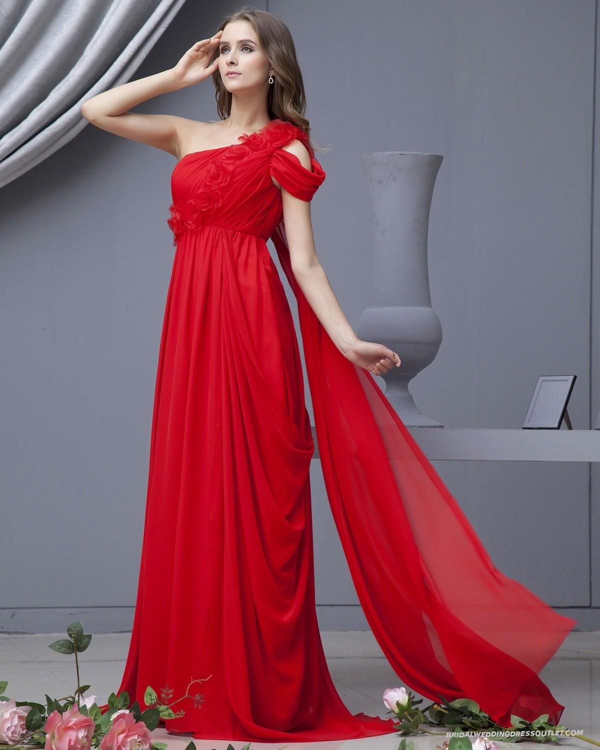 Chiffon One Shoulder Red Evening Dresses | Evening Dresses ...