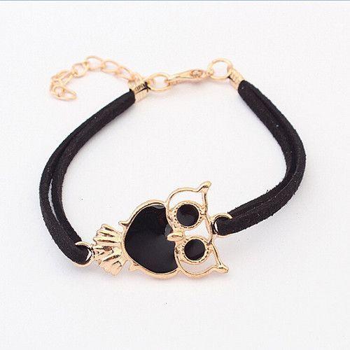 Owl Lovers Bracelet - Gold Enamel