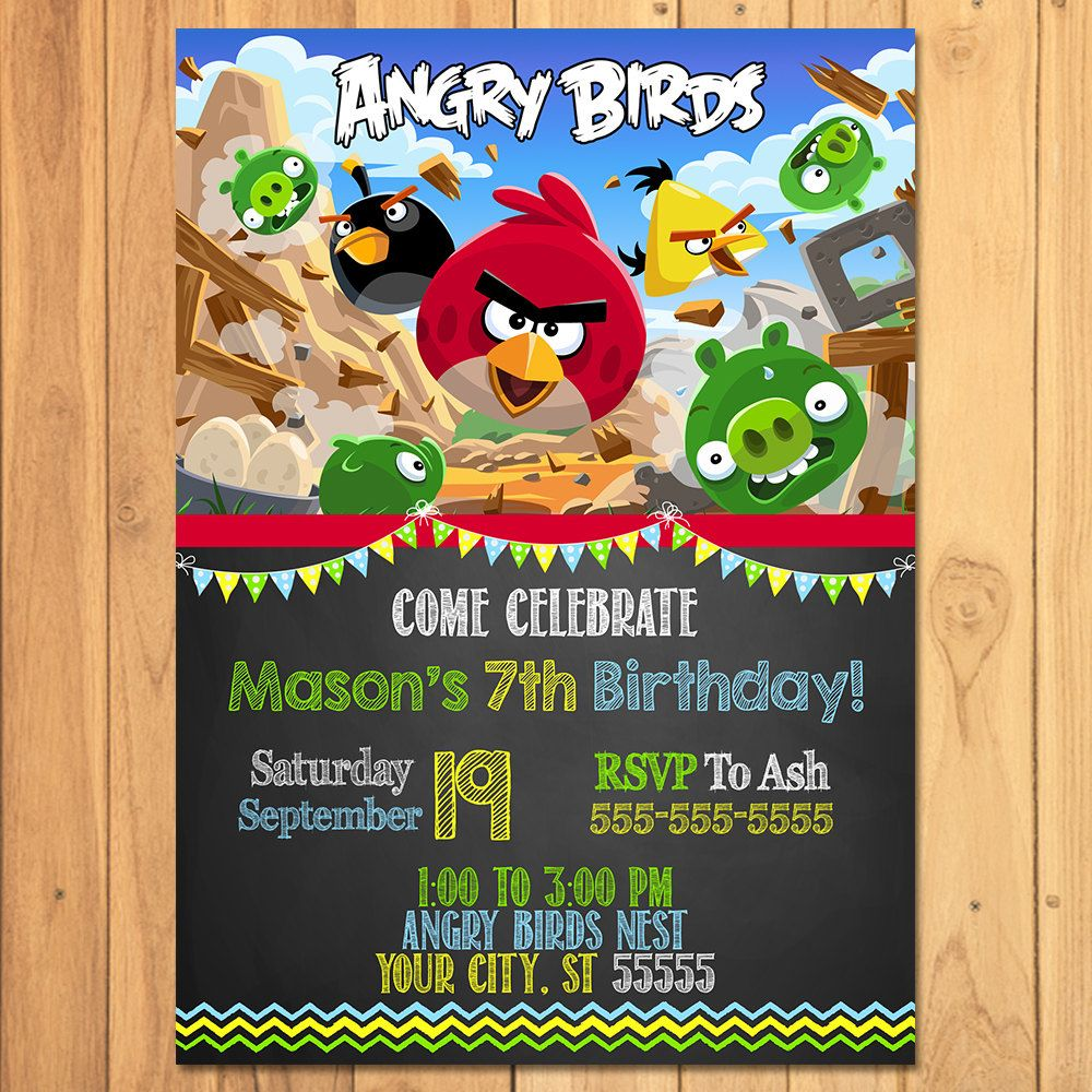 Angry Birds Invitation Chalkboard Angry Birds by SometimesPie ...