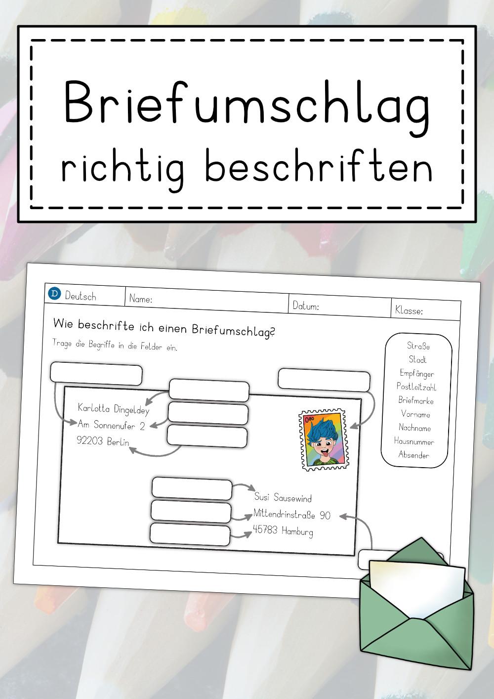 Arbeitsblatt Briefumschlag Beschriften Unterrichtsmaterial Im Fach Deutsch In 2020 Brief Briefumschlag Ein Brief