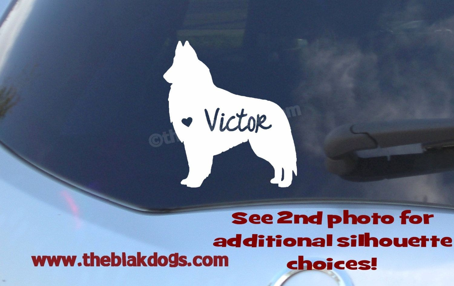Belgian Tervuren Silhouette Vinyl Sticker Personalized Car - Personalized car stickers and decals