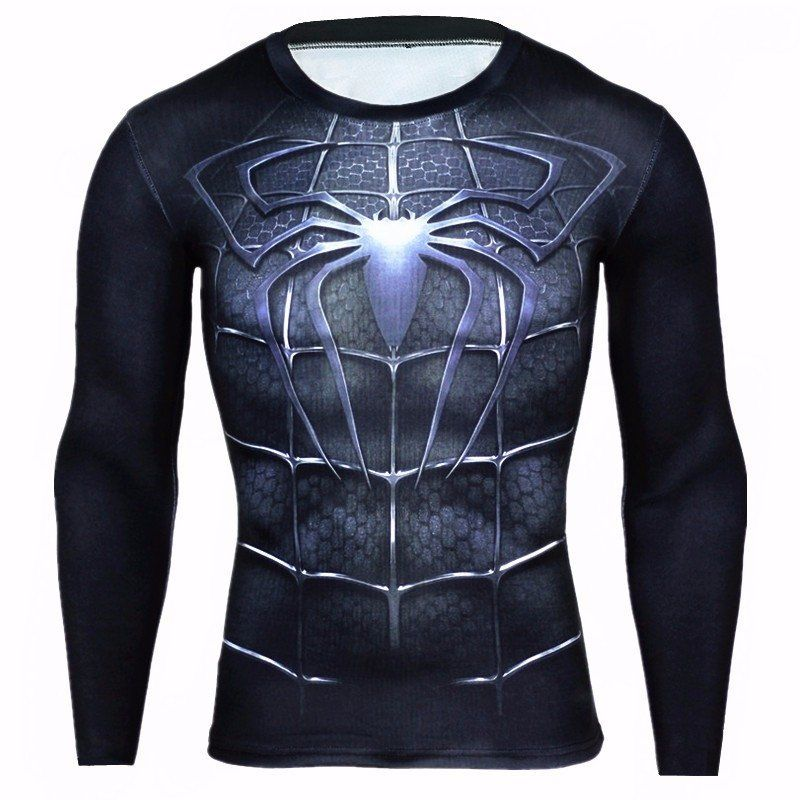 Fashion Style Hot Sale Running T Shirt Men Gym Sport Shirt Men Captain America Superman Long Sleeve Fitness Tshirt Rashgard Compression Shirts Sports & Entertainment Running T-shirts