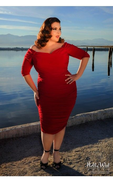 Plus size red pinup dress