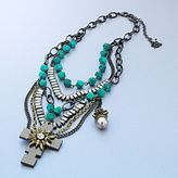 Rock & Republic-rock republic two tone simulated turquoise cross swag necklace