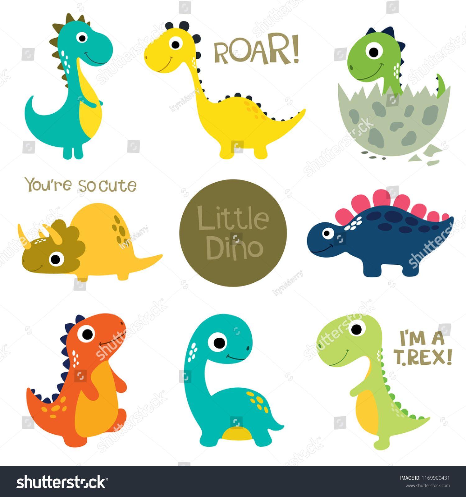 Set Of Little Cute Dinos Vector Illustration Cute Set Dinos