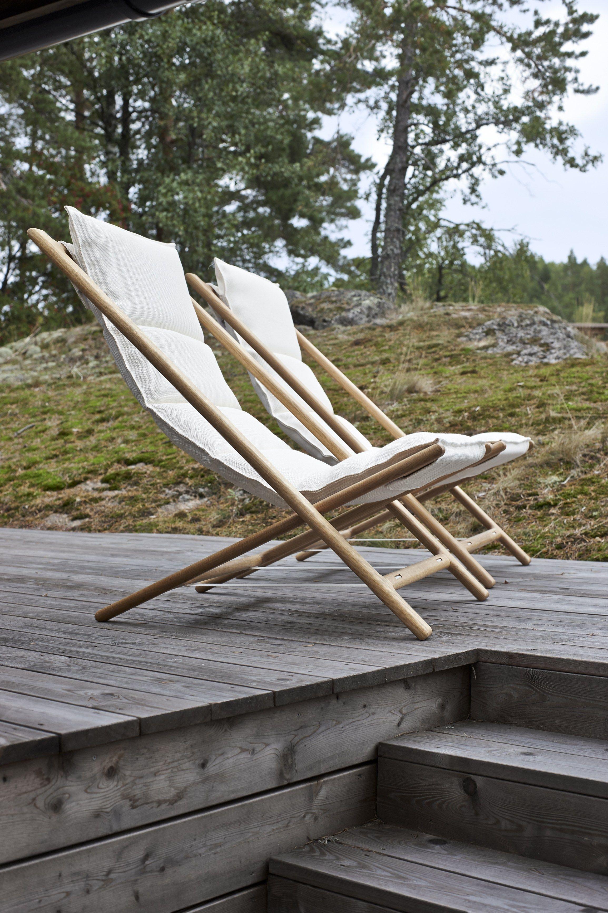 Folding Oak Deck Chair ARENZANO By Woodnotes Design Ilkka Suppanen,  Raffaella Mangiarotti