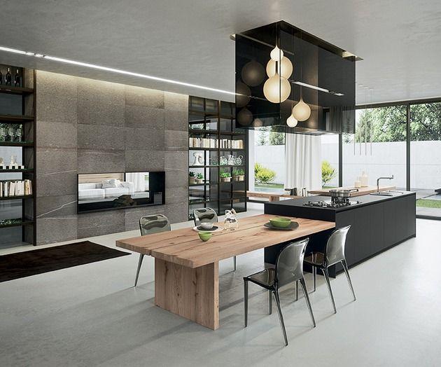 moderne küche italien holz esstisch kochinsel integriert | ideen, Hause deko