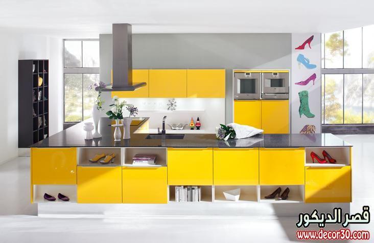 مطابخ الوميتال باروع الاشكال احدث الوان المطابخ الالوميتال Yellow Kitchen Modern Kitchen Interior Design Kitchen