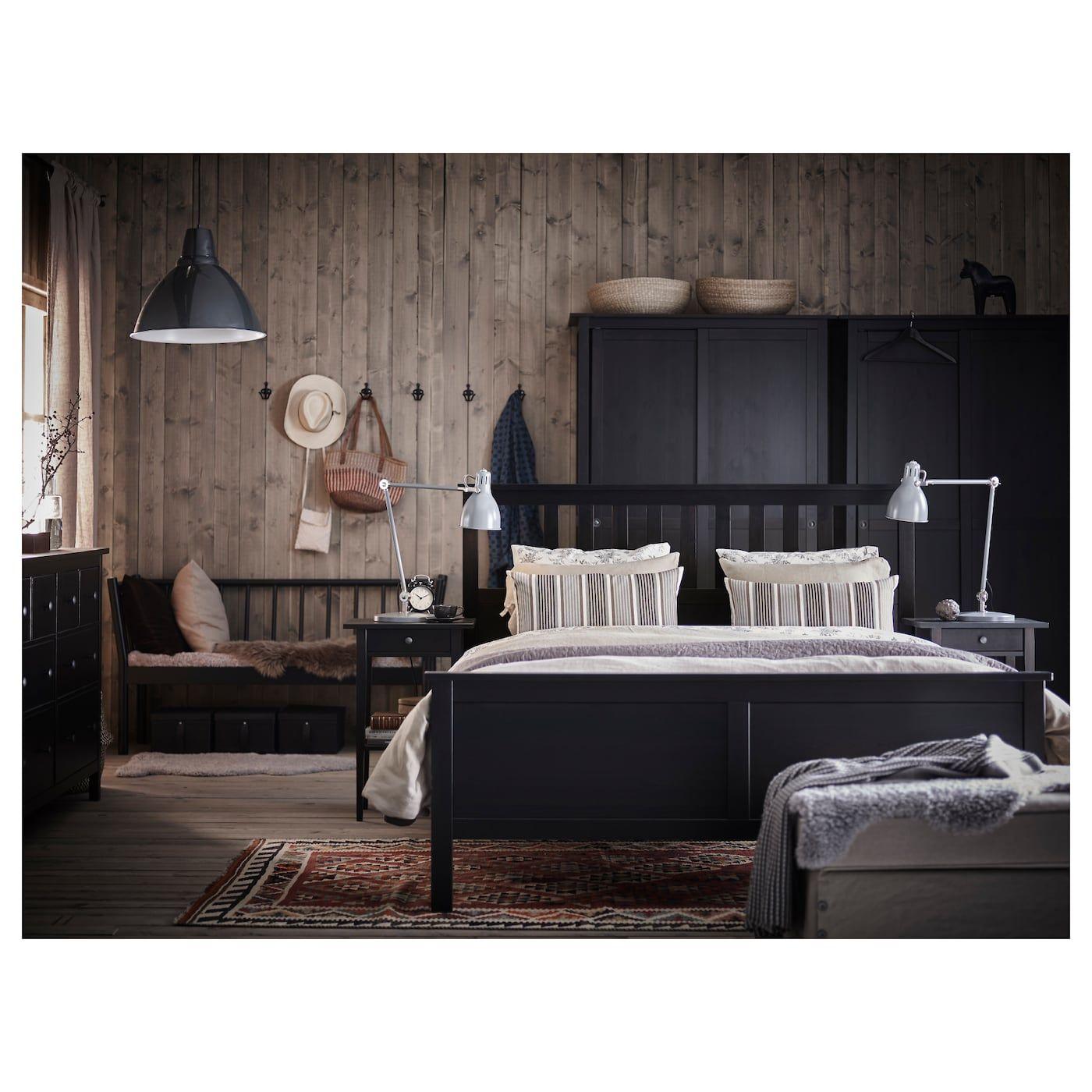 Hemnes Bed Frame Black Brown Luroy Queen With Images Hemnes