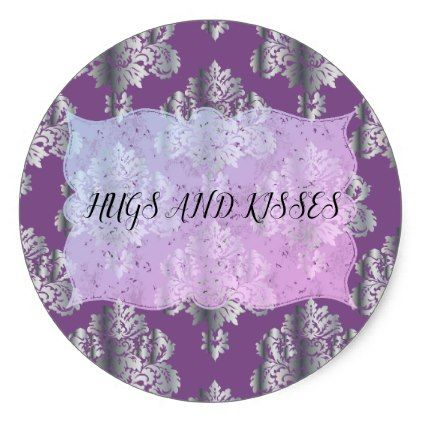 Metallic damask pattern classic round sticker individual metallic damask pattern classic round sticker individual customized unique ideas designs custom gift ideas negle