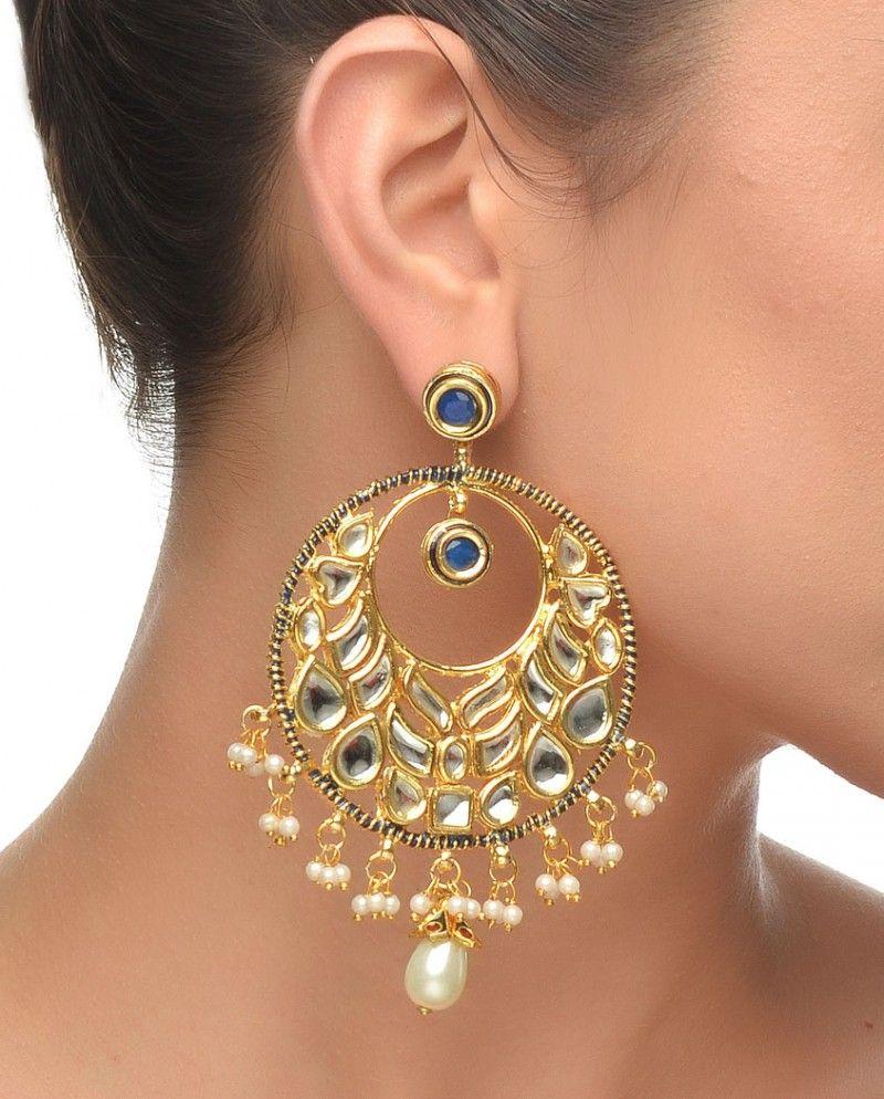 Round Kundan Earring With Blue Stone #jewelry #fashion #new #stones #studded