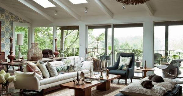 Modern wood living room. This nature-inspired living room changes with the seasons. In summer, the doors to the deck open up and the view comes ins… | Pinteres…