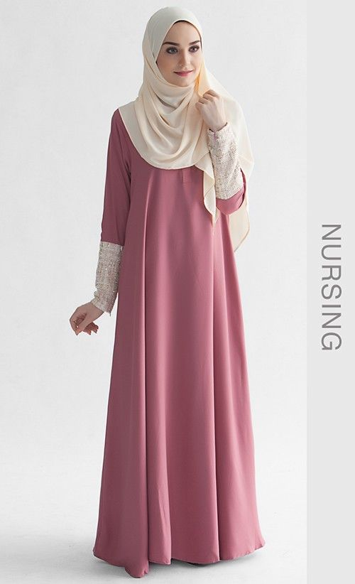 She's beautiful ! -- La Chanelia 2.0 Abaya in Mauvewood Pink | FashionValet