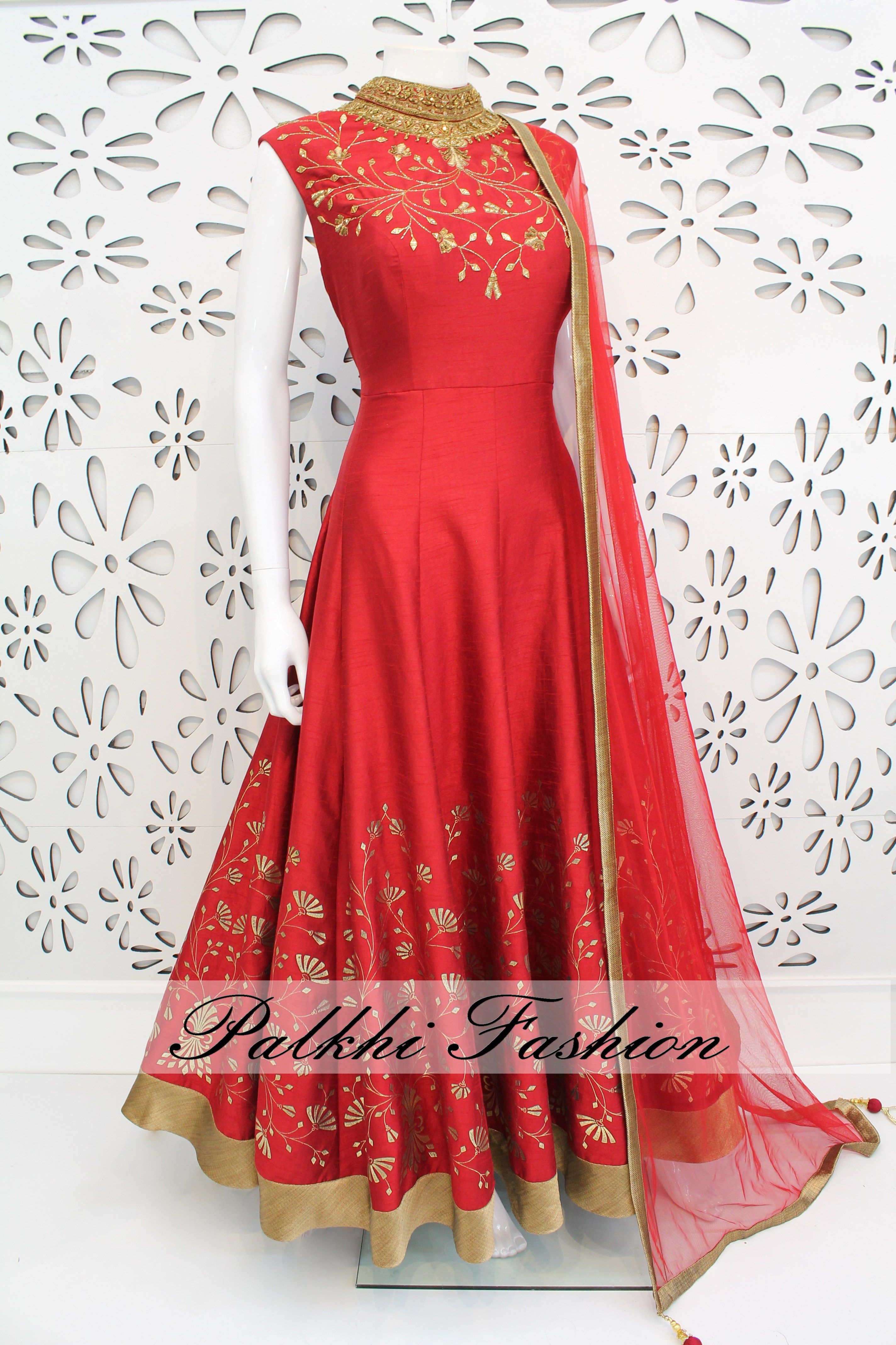 3b37185256 PalkhiFashion Exclusive Full Flair Dark Pink Color Outfit Nicely Handmade  With Stones and Embroidered Work On Neck and Bottom With Nice Design