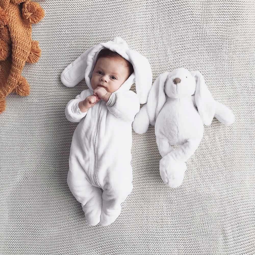 Unisex Infant Solid Cartoon Fleece Coat with Bear Ears Toddler Hoodie Romper Baby Unisex Clothes Jumpsuit Autumn Winte