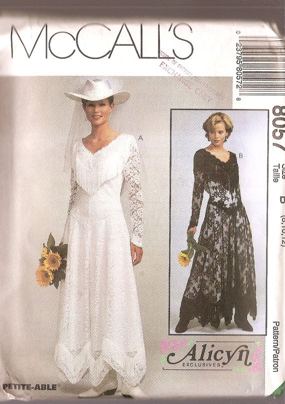 Western wedding dress pattern mccalls 8057 bride gown for Western vintage wedding dresses