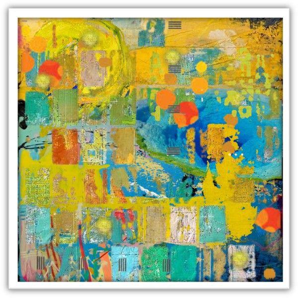 6 x 12 original Encaustic painting on wood Citron Turquoise original modern art green yellow turquoise blue white beige circles dots