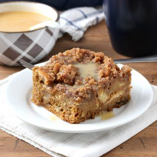 Eggnog Gingerbread French Toast Bake with Eggnog Syrup Recipe from A Kitchen Addiction