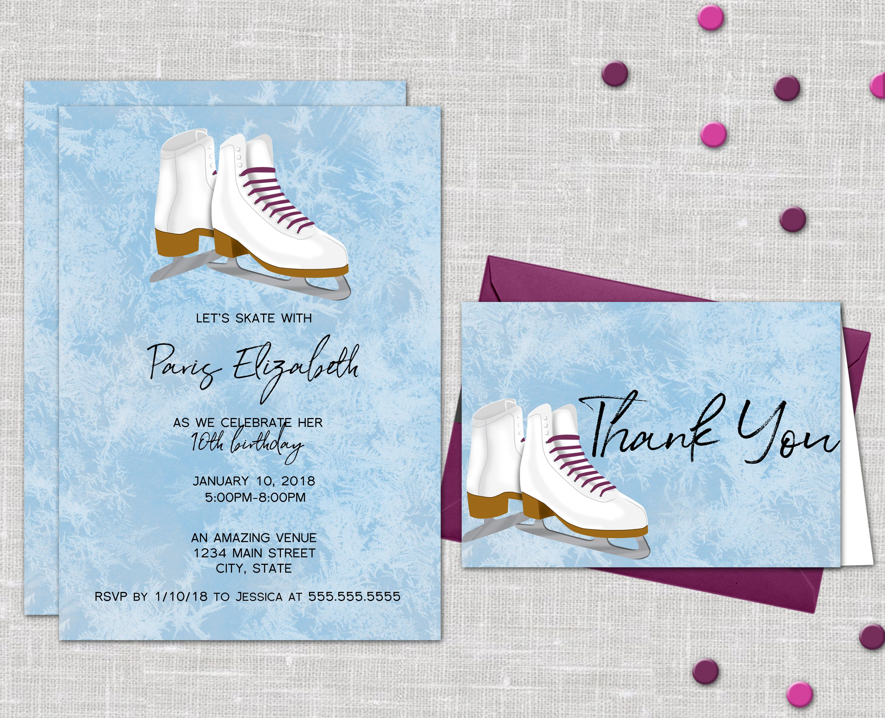 Ice Skating Birthday Party Invitation  Free Thank You Cards