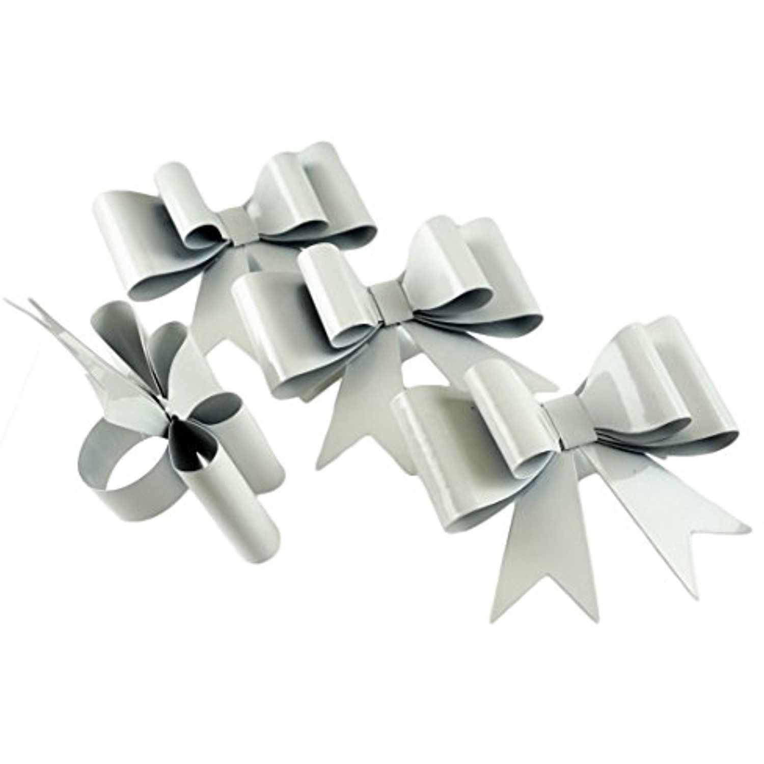 White Elegant Bow Metal Napkin Rings  Set Of 4
