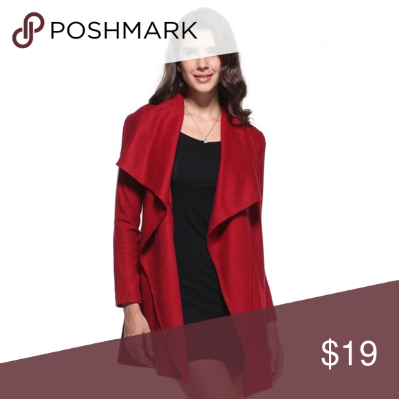 Thick red flair cardigan/coat thicker materiel I love wearing with LBD for date night or any occasion piko 1988 Jackets & Coats