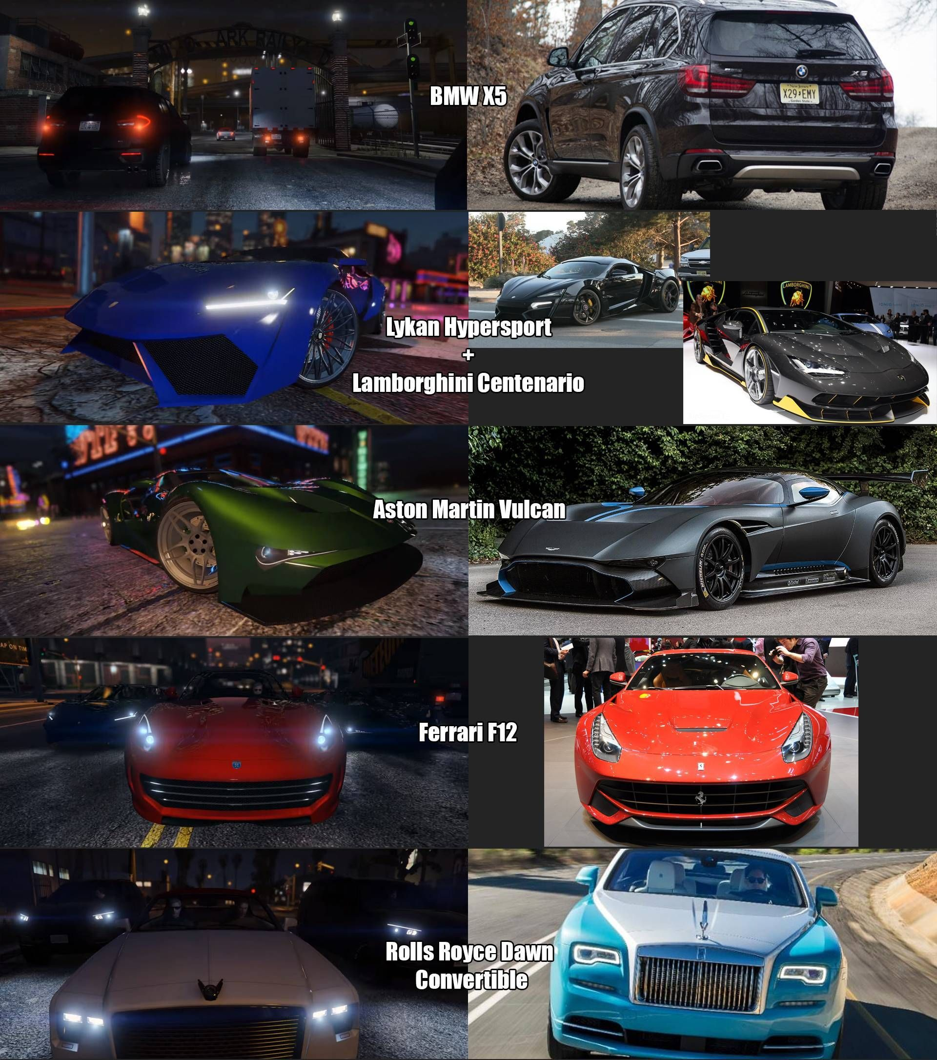 Key New Vehicles In The Further Adventures In Finance And Felony Trailer And Their Irl Comparison R Gtav Vehicles Lykan Hypersport Lamborghini Centenario