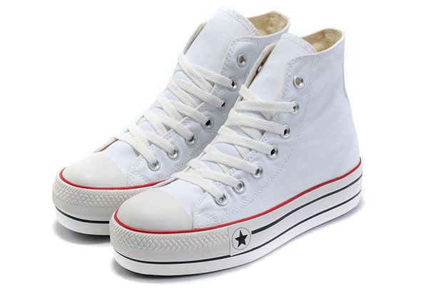 27a3864a5855 White Classic Platforms Converse All Star High Tops Canvas Women Shoes
