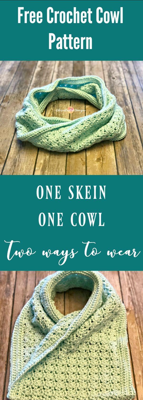 Two Way Cowl Free Crochet Pattern   Crochet cowl free ...