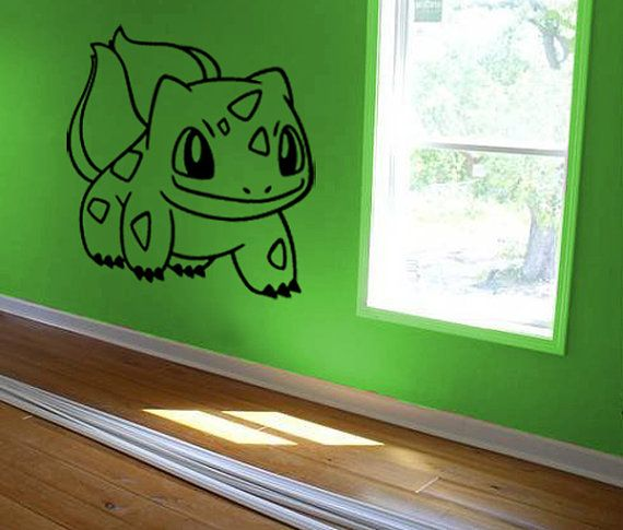 bulbasaur decal pokemon wall decal kids room decal kids wall art wall decal sticker bedroom. Black Bedroom Furniture Sets. Home Design Ideas