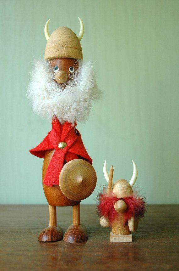 Tiny Mid Century Danish Teak Viking Figurine - Danish Modern Wooden Toy