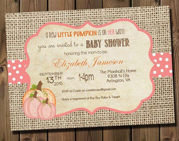 Elegant Pink Little Pumpkin Girl Baby Shower Invitations  DIY Printable Rustic  Burlap Autumn Shower Invitations