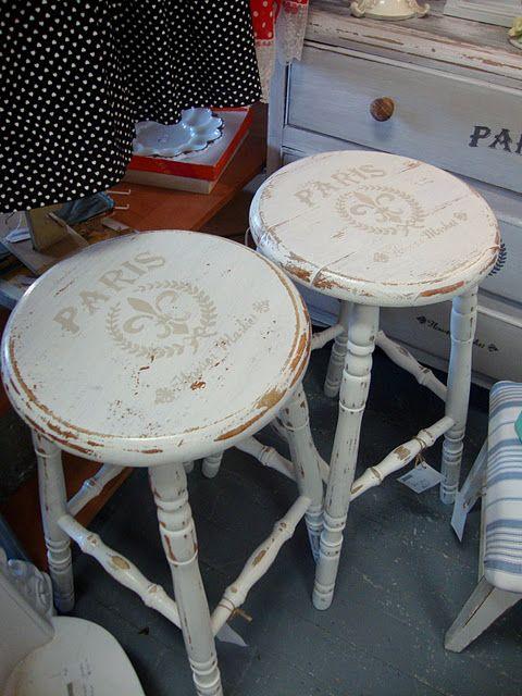 shabby chic painted stools modelos pinteres Pinterest Bancos
