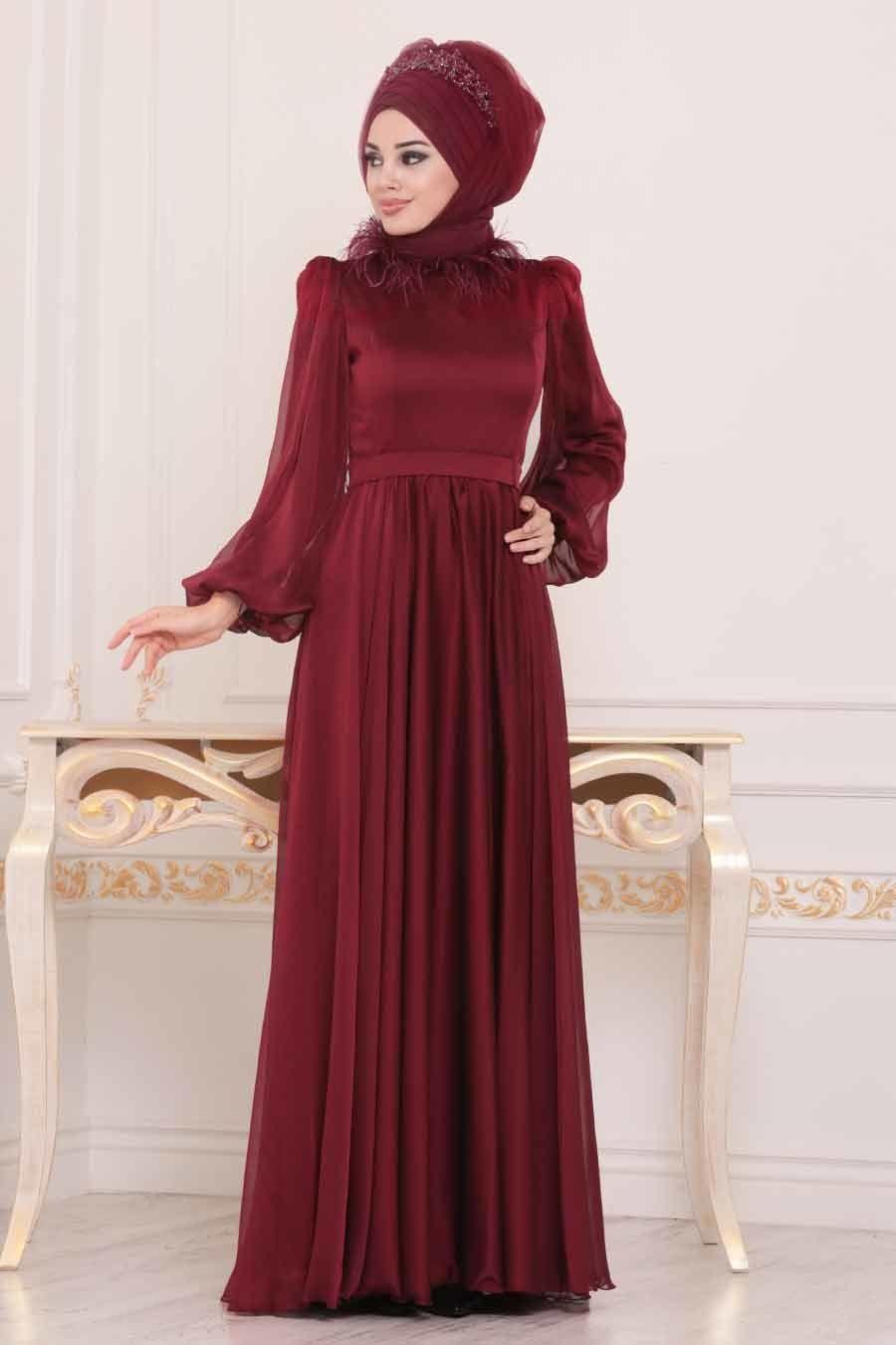 Tesetturlu Abiye Elbise Otrisli Bordo Tesettur Abiye Elbise 3925br Tesetturisland Com Moda Stilleri Giyim The Dress