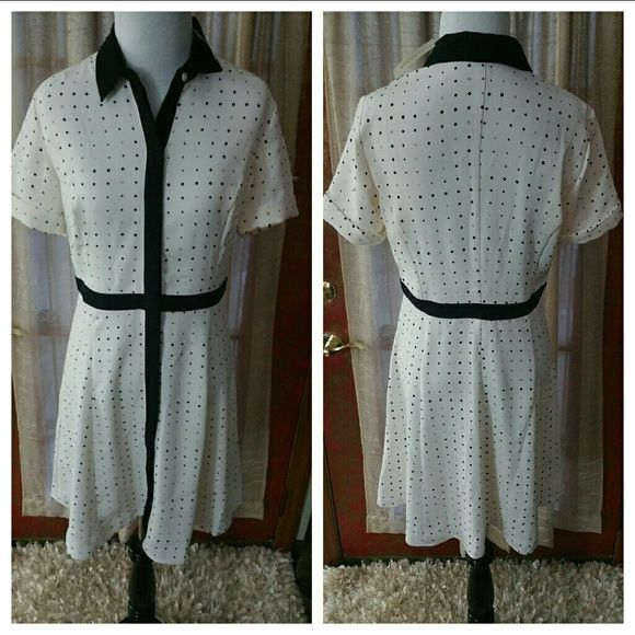 Beautiful New Shirt Dress Ann Taylor dress cream with designs throughout.  Nice soft material. Ann Taylor Dresses