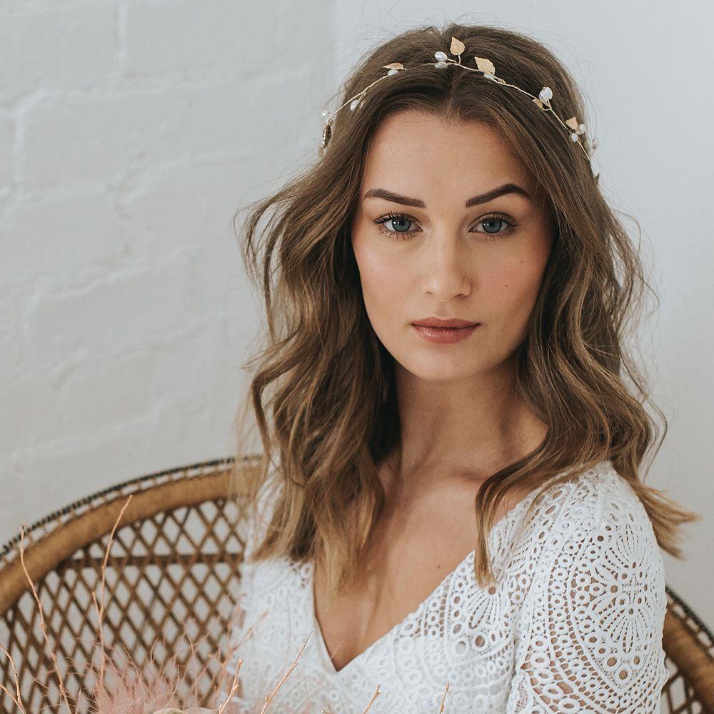 Gold Pearl /& Leaf Bridal Bridesmaids Wedding Hair Vine Silver