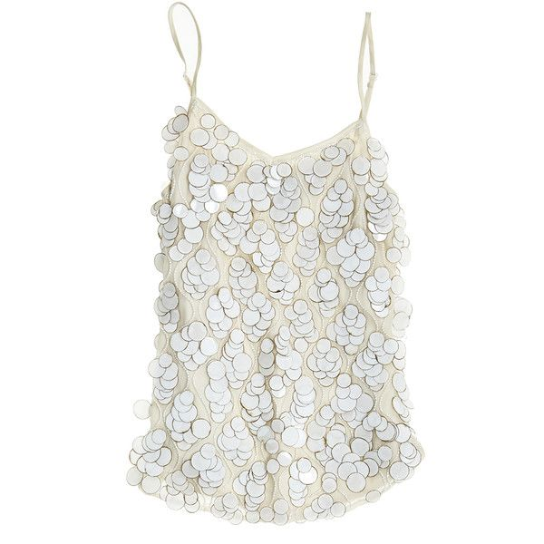 BEYOND VINTAGE Pailette Embellished Tank (€225) ❤ liked on Polyvore featuring tops, shirts, tank tops, tanks / cami's, ivory, v-neck tank, embellished tank tops, ivory shirt, round top and v neck camisole