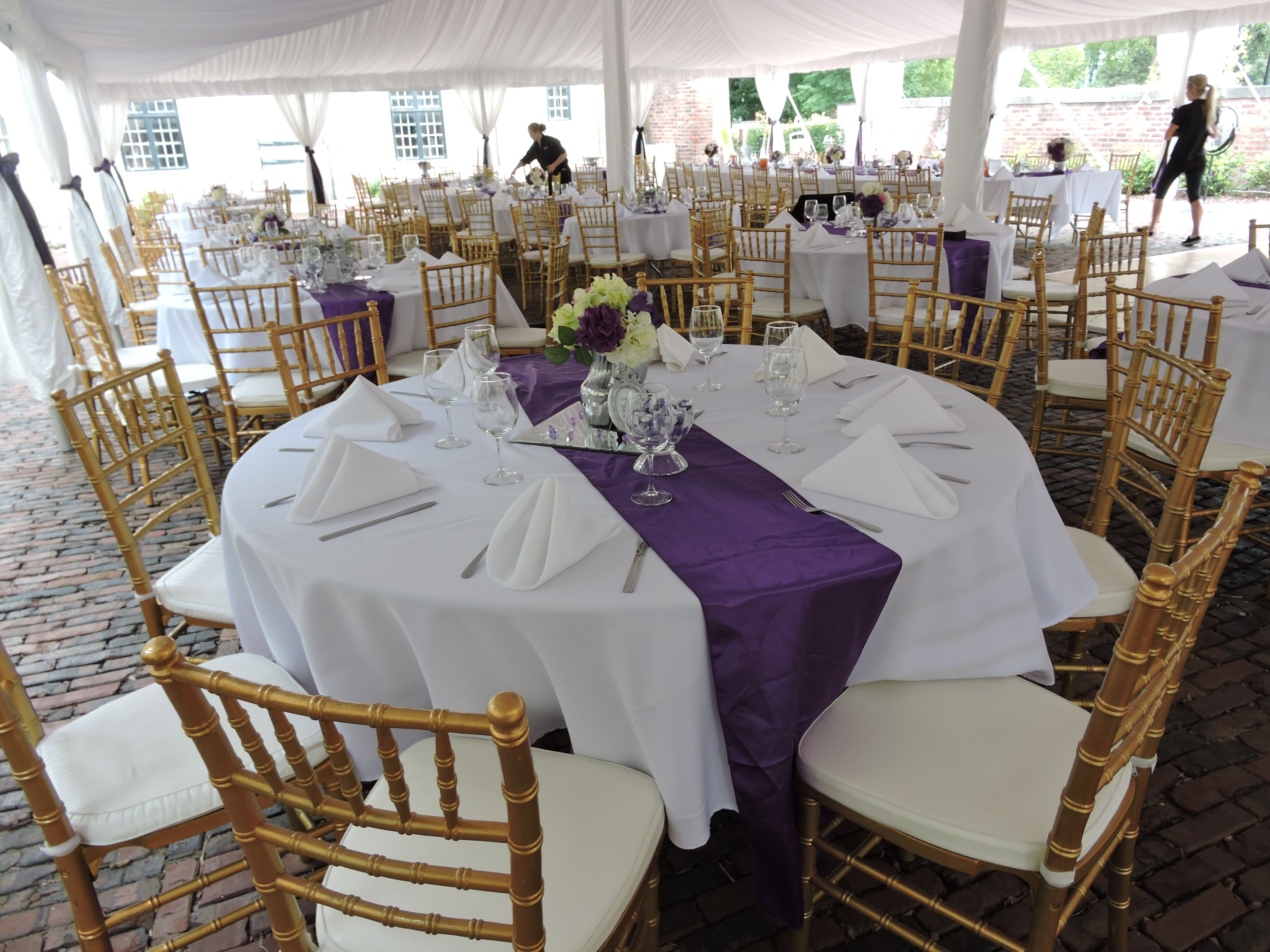 Loved this outdoor wedding look with gold chiavari chairs white