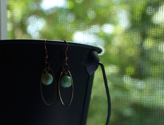 Light Green and Copper Earrings