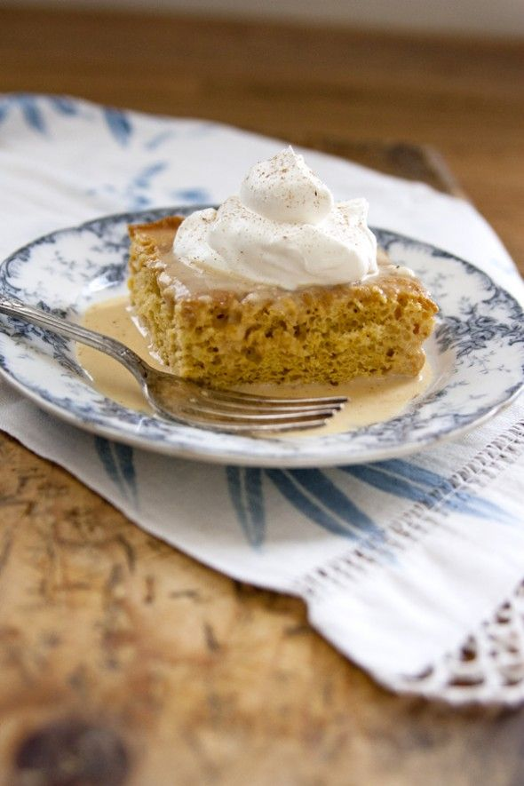 Pumpkin Tres Leches Cake - This moist cake is baked in a sheet pan so it's perfect for serving a crowd. This cake's light and airy texture is similar to our classic tres leches cake, but in this festive variation, it is spiced with cinnamon, ginger, cloves, and pumpkin and is served with a dollop of homemade whipped cream. It's even yummier than pumpkin pie!