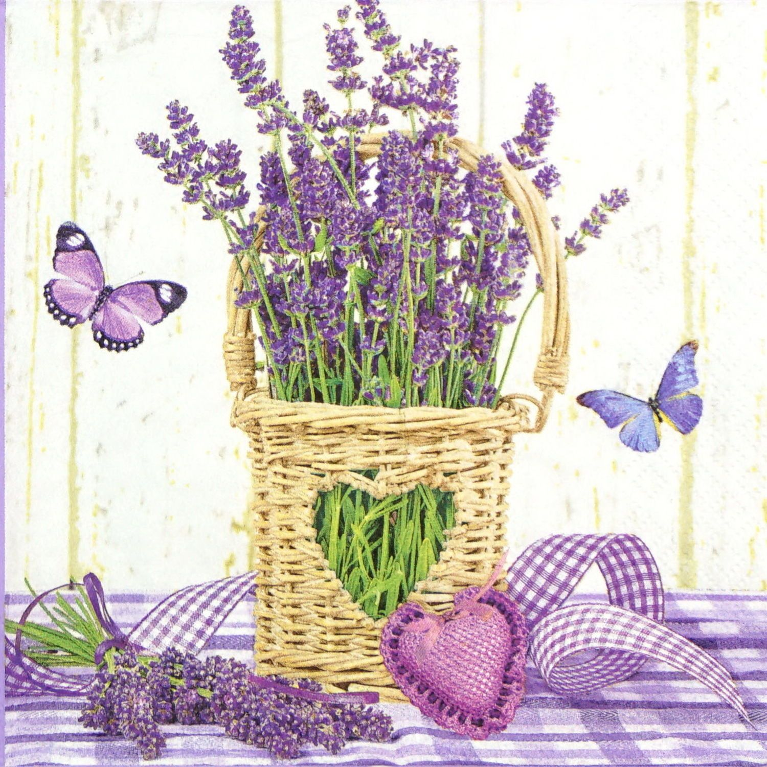 4x Paper Napkins for Decoupage Decopatch Craft Lavender Greetings
