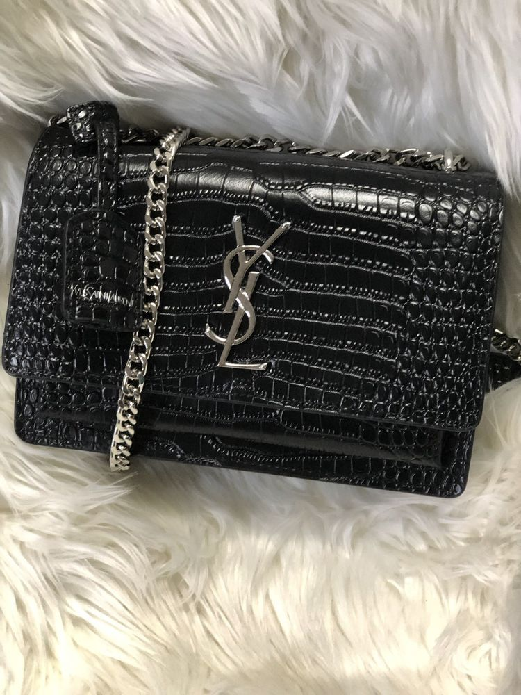 6aee397dedb4 NEW YSL SAINT LAURENT MEDIUM SUNSET CROCODILE CROSSBODY BAG Black ...