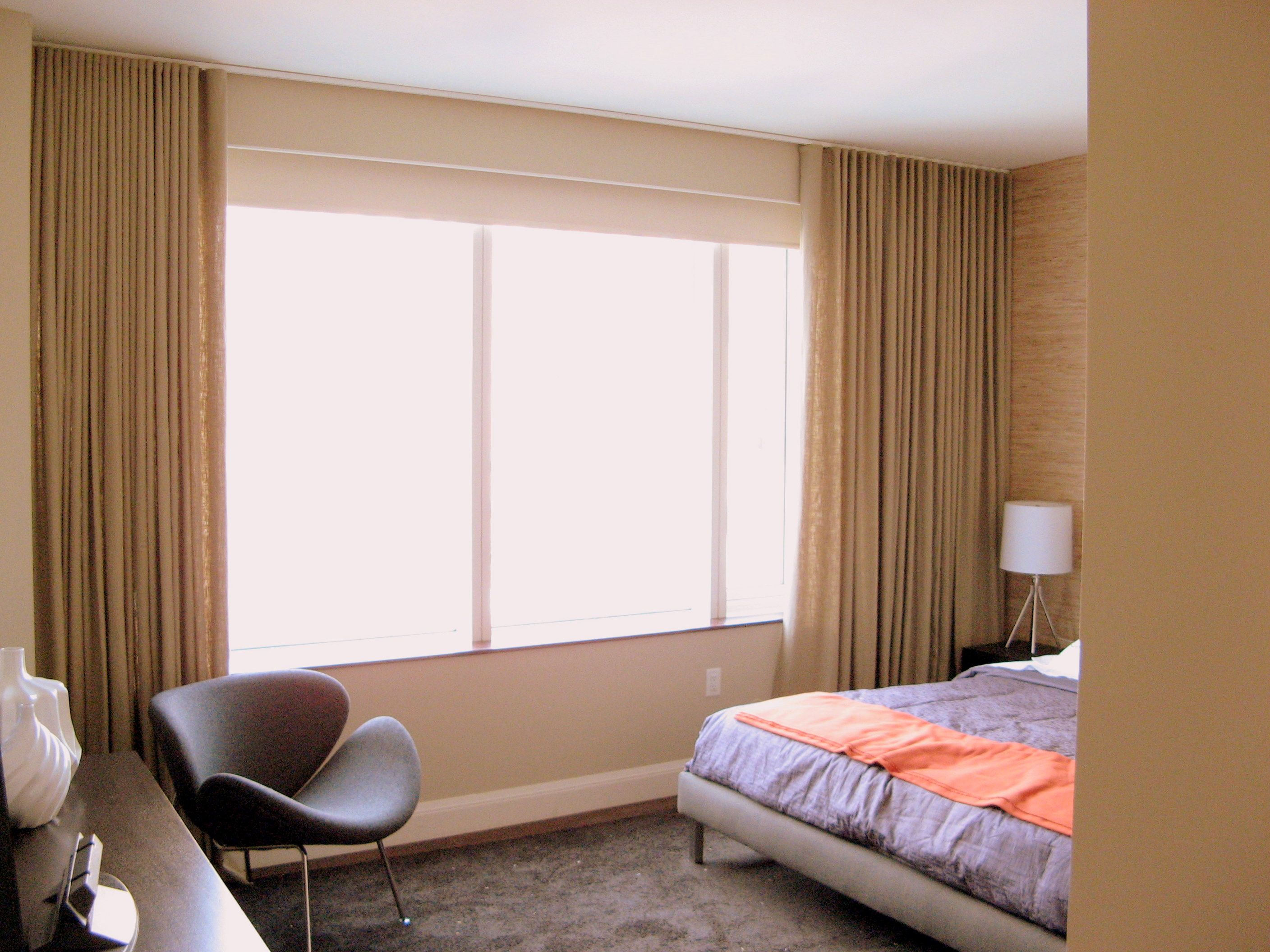 Motorized Ripple Fold Drapes And Blackout Roller Shades